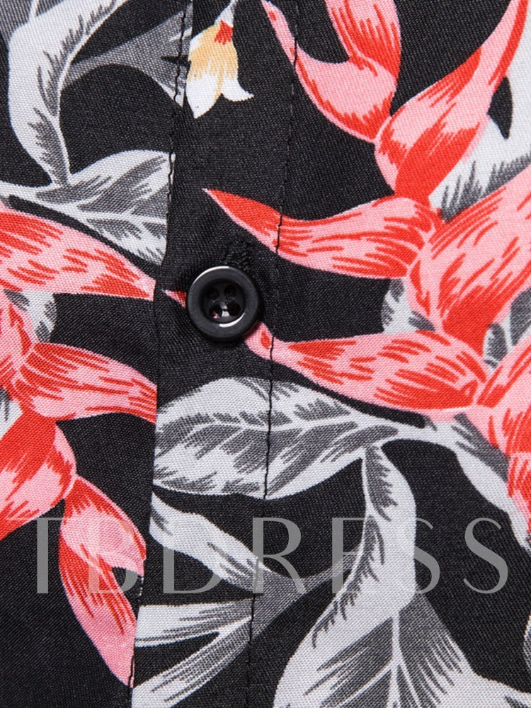 Floral Button Lapel Summer Men's Shirt