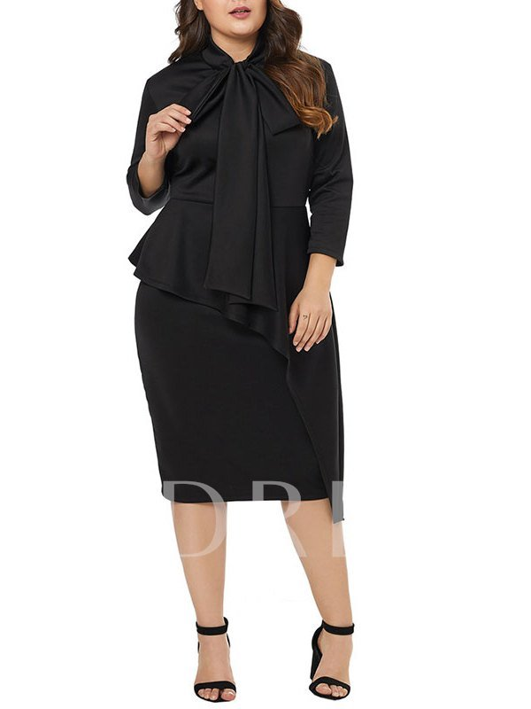 3/4 Length Sleeves Knee-Length Black Sheath Cocktail Dress 2019