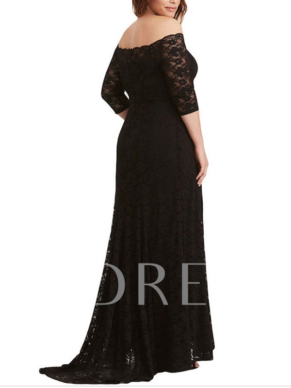Off-the-Shoulder Black Half Sleeves Trumpet Evening Dress 2019