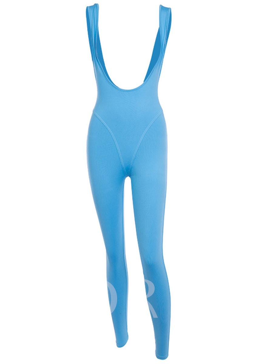 Solid Tight Sports Casual Women's Jumpsuit