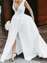 Split-Front Deep V-Neck Outdoor Wedding Dress