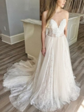Strapless A-Line Lace Outdoor Wedding Dress 2019
