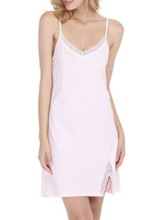 Color Block Lace Split Sleeveless Women's Nightgown
