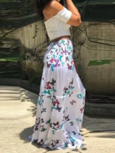 Print Sleeveless Strapless Sweet Women's Maxi Dress