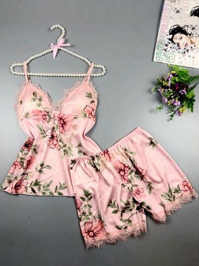 floral print lace womens sleepwear 2 pieces