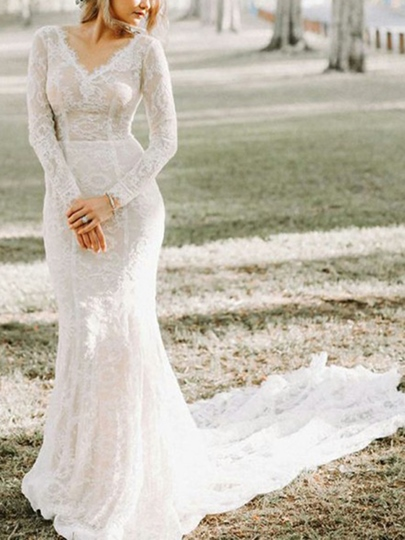 V-Neck Lace Long Sleeves Mermaid Wedding Dress 2019 V-Neck Lace Long Sleeves Mermaid Wedding Dress 2019