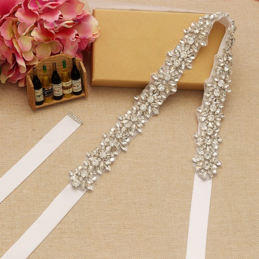 Regular(2-4cm) Ribbon Rhinestone Bridal Belt 2019