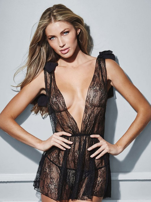 Backless Deep-V Plain See-Through Lace Bowknot Sexy Babydoll
