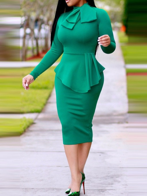 Bow Collar Long Sleeve Plain Women's Bodycon Dress