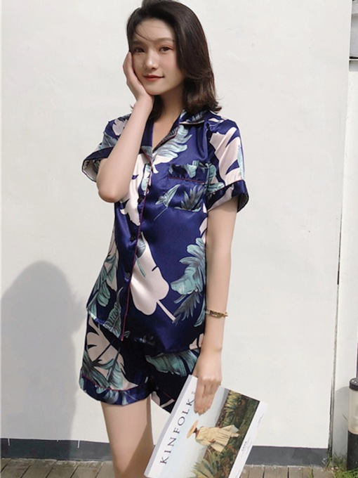 Simple Print Floral Short Sleeve Women's Pajama Set