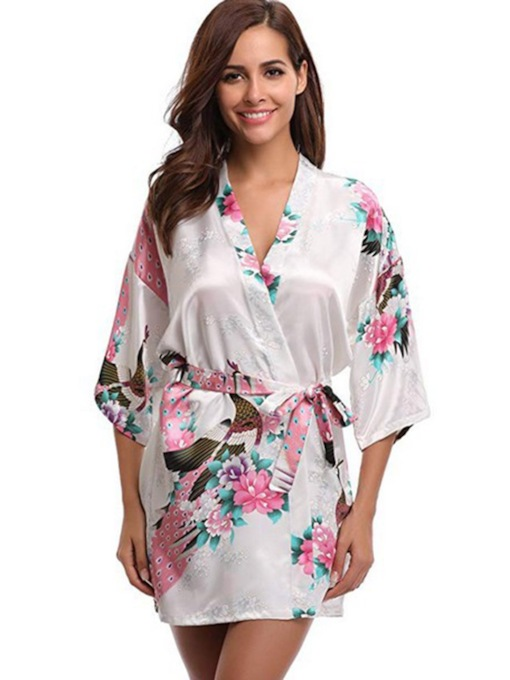 Floral Print Loose Mid-Length Women's Night Robe