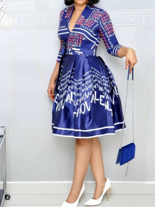 V-Neck Print Three-Quarter Sleeve Fall Women's Day Dress