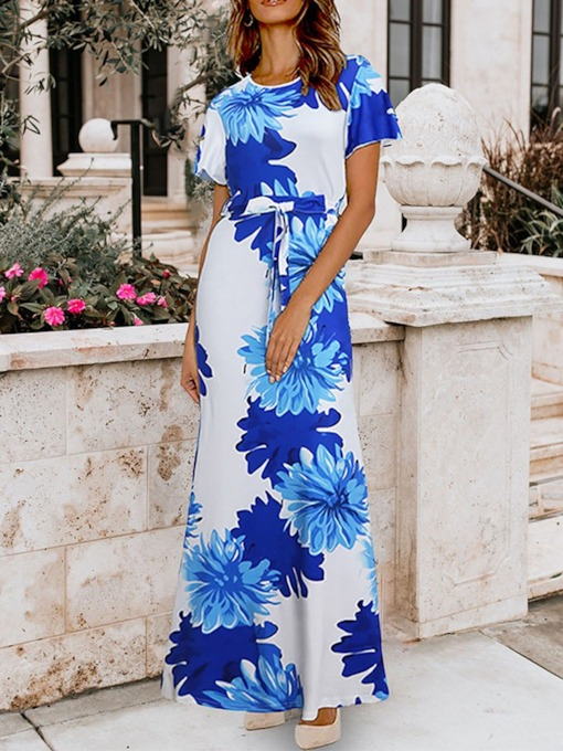 Print Round Neck Short Sleeve Women's Maxi Dress