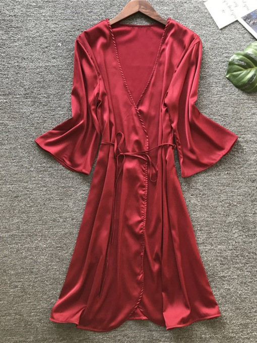 Plain Single Lace-Up Simple Women's Night Robe
