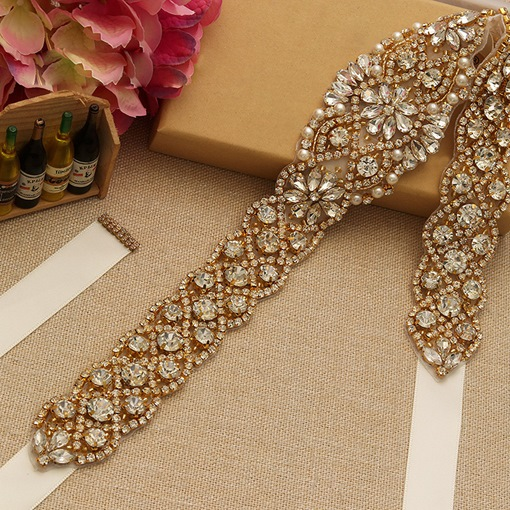 Ribbon Wide Belt Rhinestone Bridal Belts 2019
