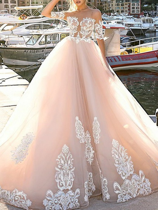 Half Sleeves Button Lace Appliques Wedding Dress 2019