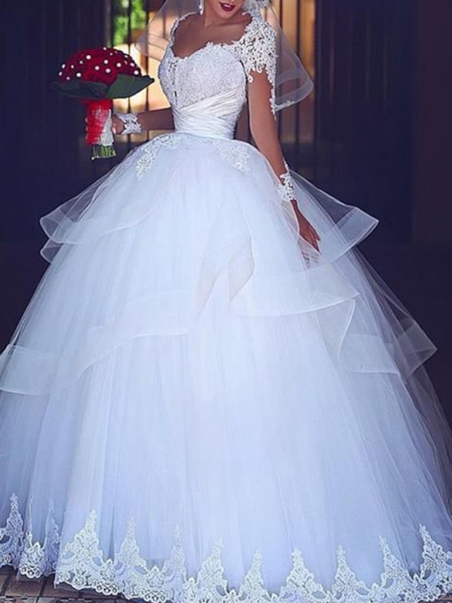 Appliques Long Sleeves Ball Gown Wedding Dress 2019