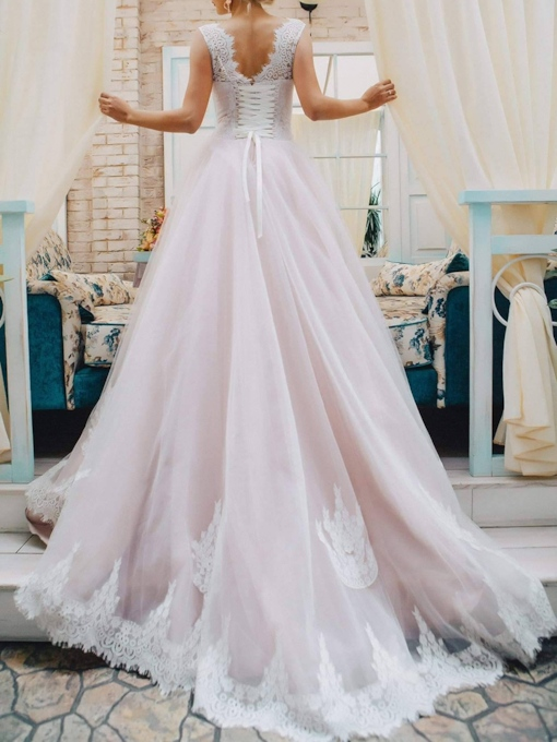 Court Train Straps Lace Wedding Dress 2019