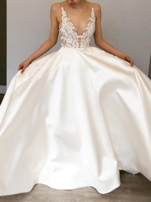 Straps V-Neck Lace Country Wedding Dress 2019