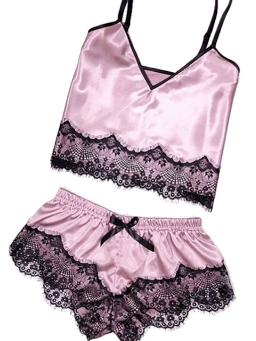 Fashion Color Block Lace Pullover Women's Sleepwear 2 Pieces