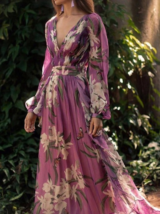 Long Sleeve Floral Print V-Neck Women's Maxi Dress