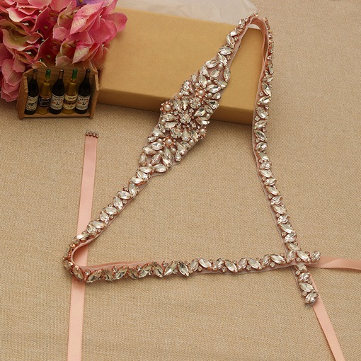 Ribbon Skinny Belt(<2cm) Rhinestone Bridal Belts 2019