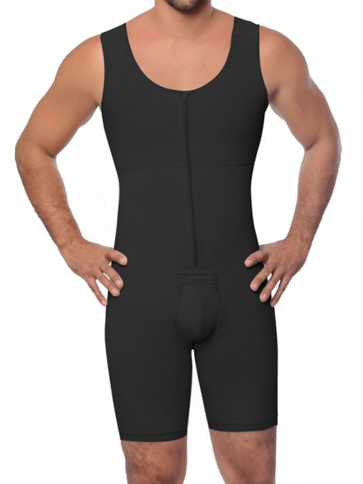 Plain Bodysuit Zipper Sleeveless Men's Shapewear