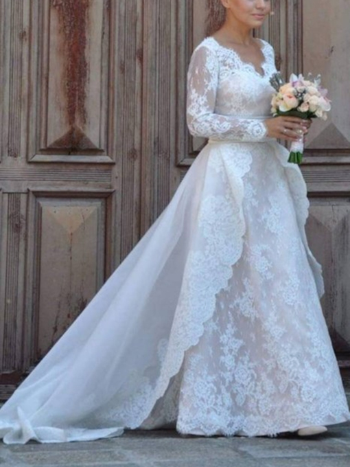Watteau Train Lace Long Sleeve Wedding Dress 2019