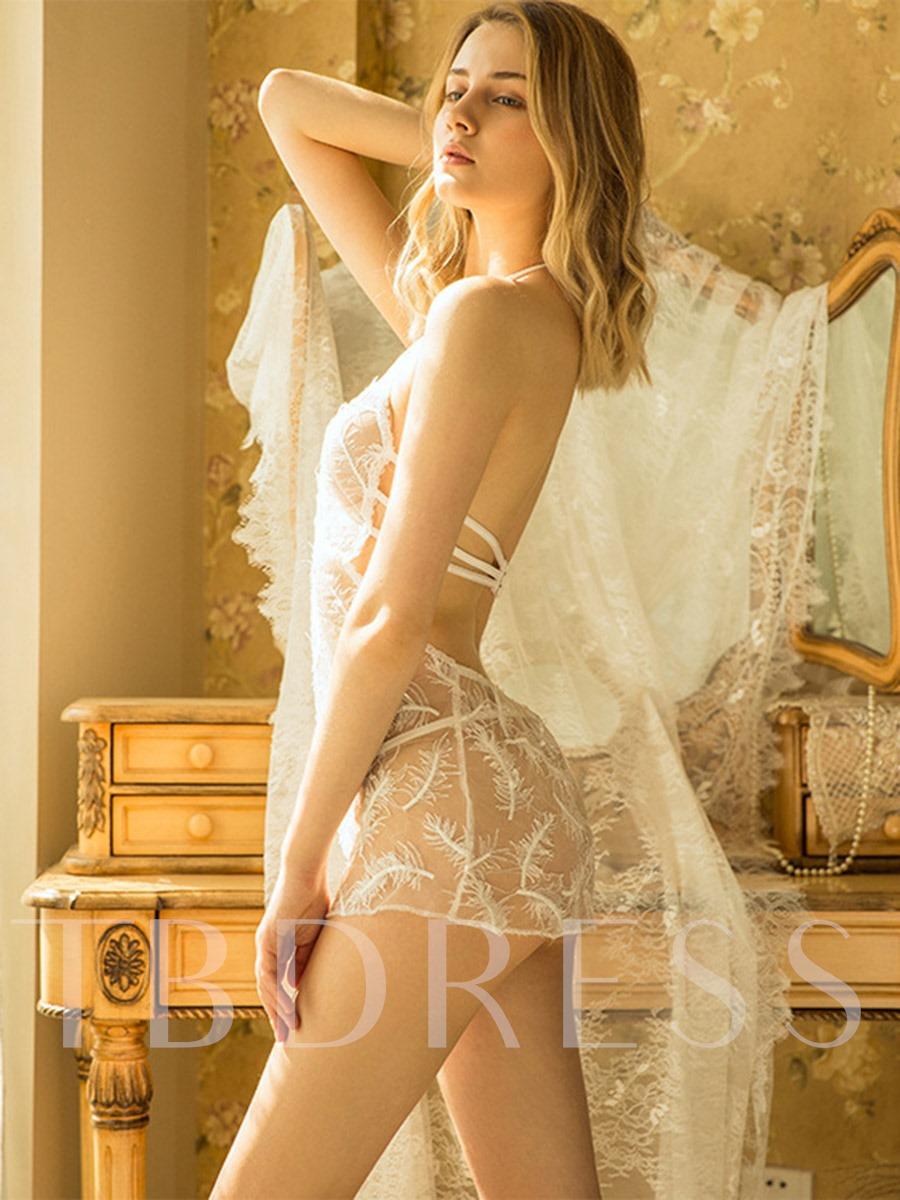 Halter Mesh Feather Embroidery Nightgown Sexy Babydoll