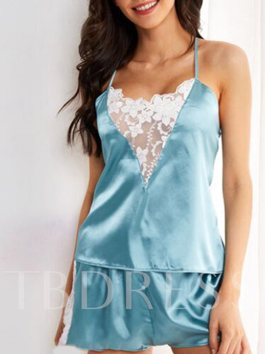 Sleeveless Lace Sexy Sleepwear Women's Pajama 2 Pieces