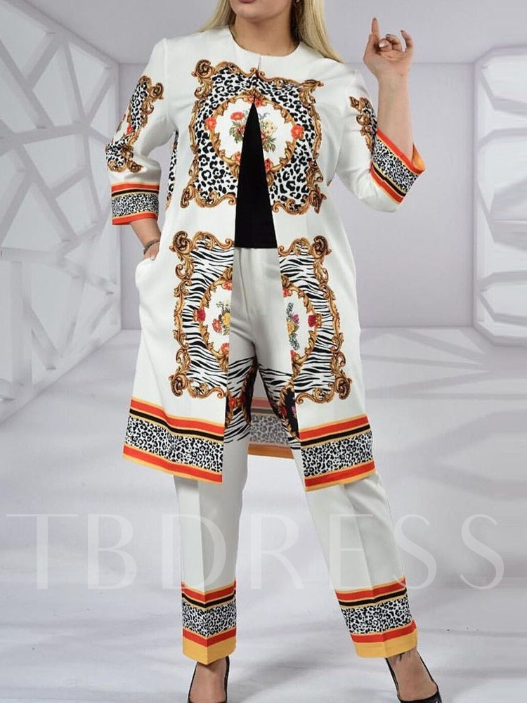 Print Fashion Coat Floral Round Neck Women's Two Piece Sets