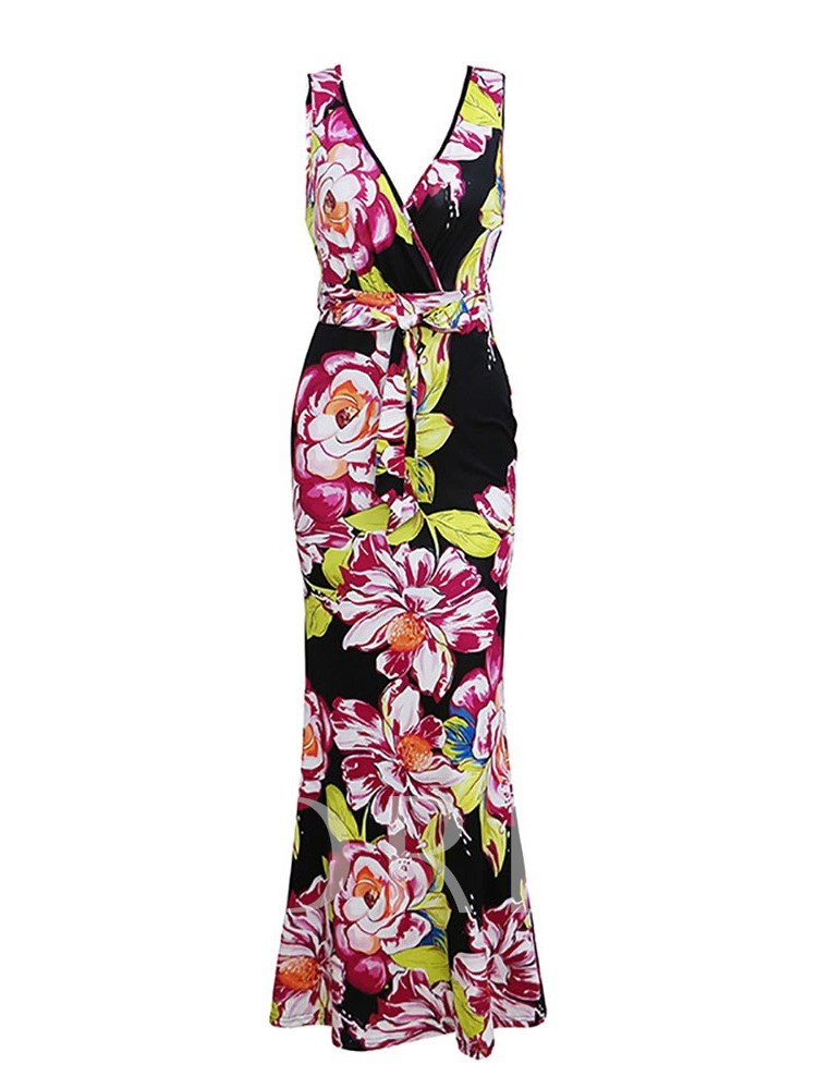 Sleeveless V-Neck Floral Prints Women's Maxi Dress