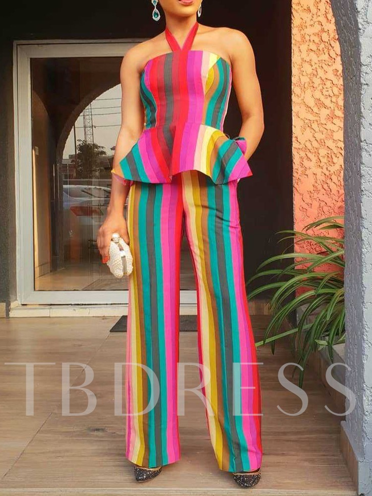 Color Block Fashion Vest Falbala Straight Women's Two Piece Sets