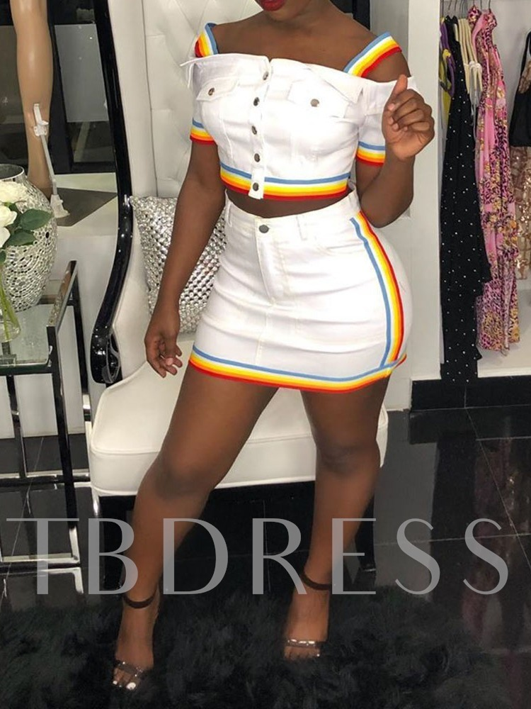 Fashion Skirt Patchwork Color Block Single-Breasted Women's Two Piece Sets