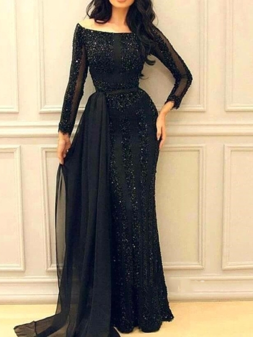Floor-Length Long Sleeves Off-The-Shoulder Trumpet Evening Dress 2019