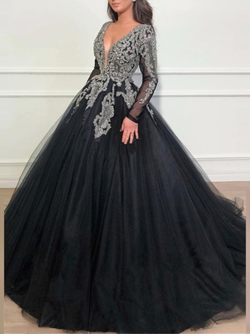 Long Sleeves Appliques Beading Ball Gown Evening Dress 2019