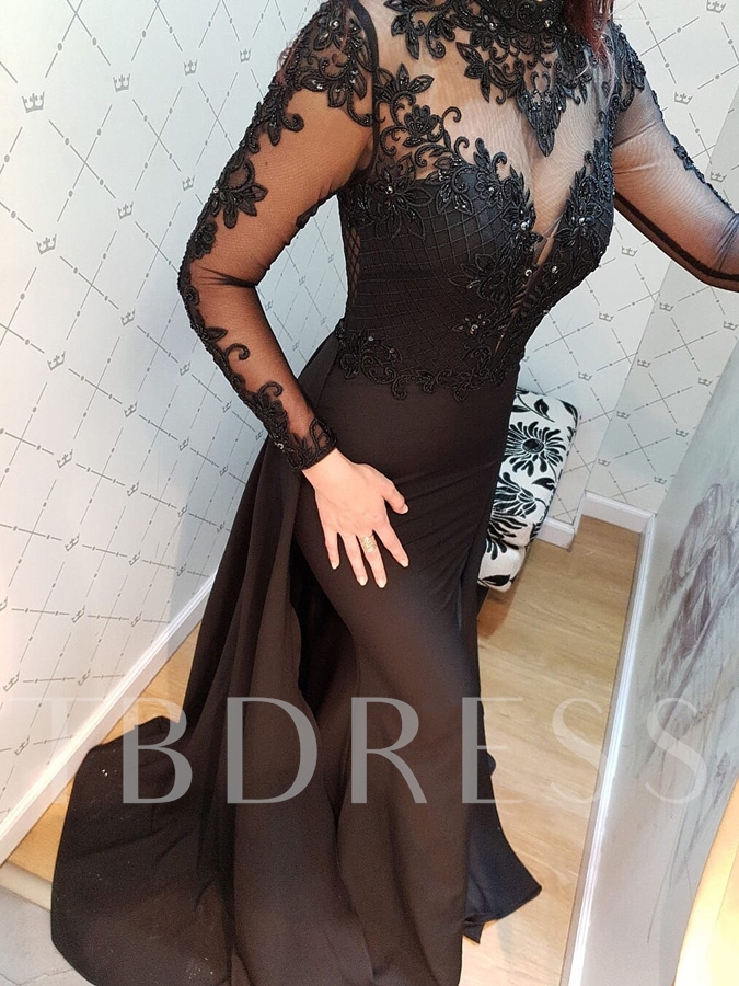 Lace Floor-Length Trumpet High Neck Evening Dress