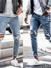 Thin Ripped Distressed Hole Denim Zipper Pencil Pants Casual Men's Jeans