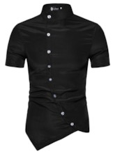 Stand Collar Plain Asymmetric Fashion Single-Breasted Men's Shirt