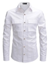 Button Fashion Plain Lapel Single-Breasted Men's Shirt