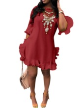 African Fashion Round Neck Flare Sleeve Asymmetric Women's Day Dress