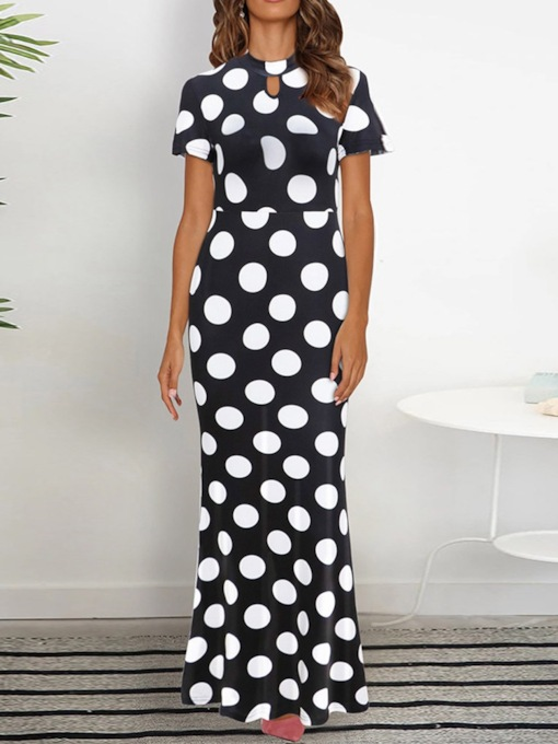 Short Sleeve Print Round Neck Polka Dots Women's Maxi Dress