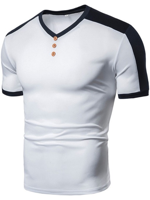 V-Neck Casual Color Block Button Short Sleeve Men's T-shirt