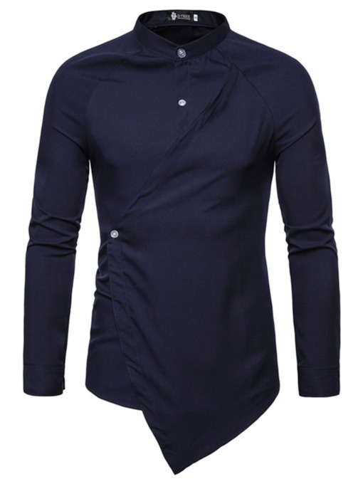 Casual Button Plain Stand Collar Spring Men's Shirt