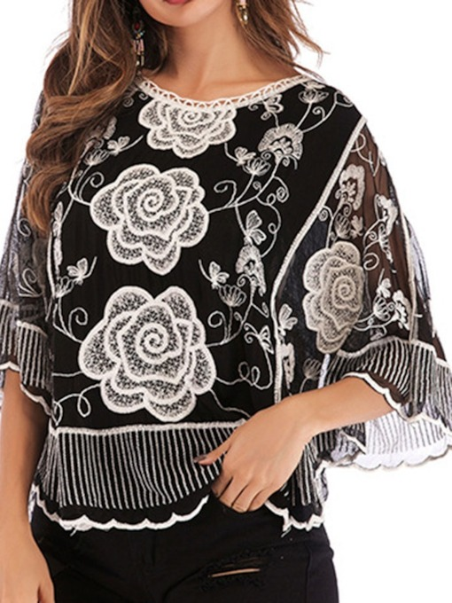 Floral Round Neck Patchwork Three-Quarter Sleeve Women's Blouse