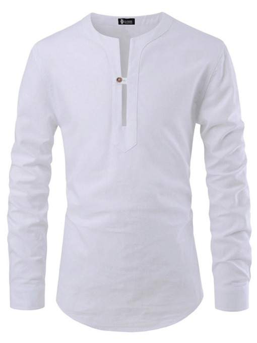 Button Plain Casual Round Neck Slim Men's Shirt