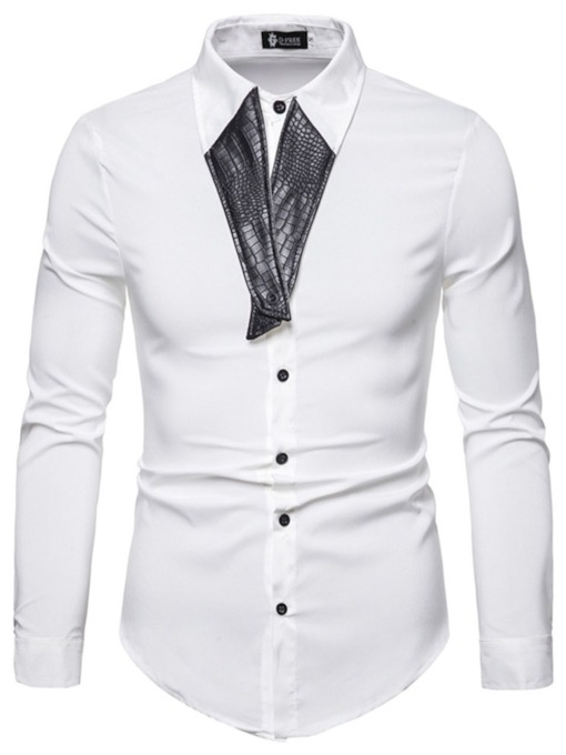 Lapel Plain Button Fashion Spring Men's Shirt