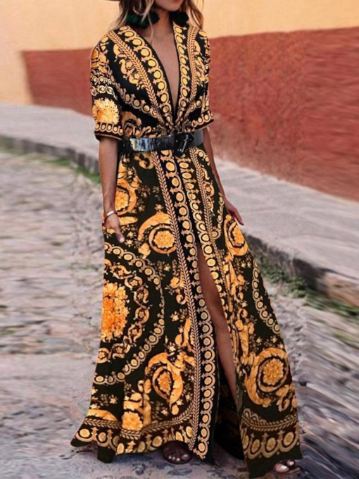 Print V-Neck Half Sleeve Geometric Women's Maxi Dress