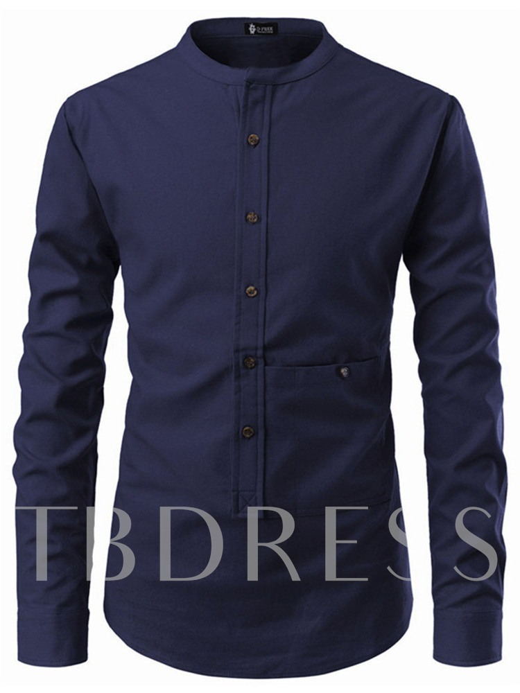 Pocket Stand Collar Casual Plain Single-Breasted Men's Shirt