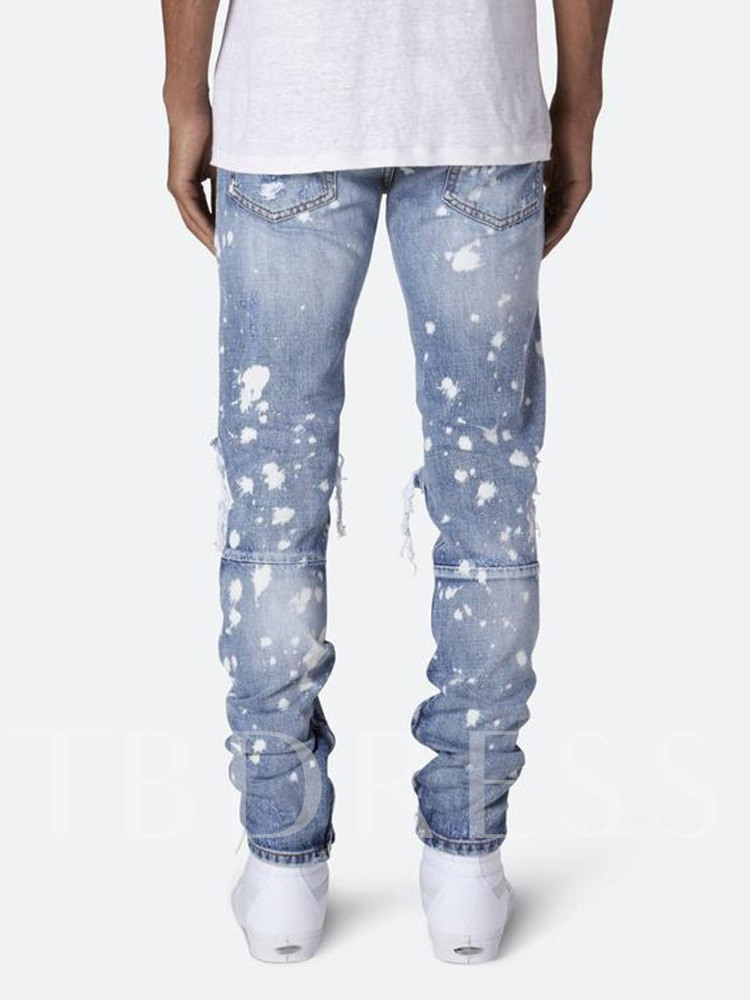 Fashion Men Holes Loose Pencil Pants Print Zipper Men's Jeans